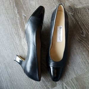 Etienne Aigner Leather Thick Heel Black Pump